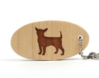 Chihuahua Key Chain Wood Dog Breed Key Fob Chihuahua Key Ring Dog Keychain Pet Key Holder African Mahogany