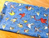 Fabric Destash, Christmas Fabric, Blue Fabric, Bird Fabric, Cardinal Fabric, Quilting Fabric, Cotton Fabric
