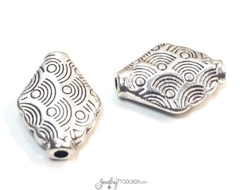 Decorative Diamond Beads, Metal Beads, Antique Silver Pewter, Double Sided, 15x10mm, 3mm Hole, Lot Size 8 to 30, #1332