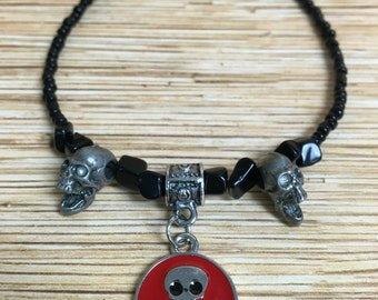 Black & Red Skull Anklet