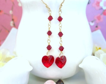 Valentines red heart Swarovski crystal gold dangle earrings, Red Love Valentines Day heart dangle gold earrings, red heart crystal earrings
