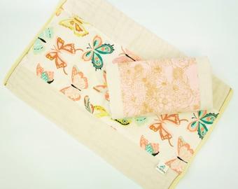 Burp Cloth Set // Butterflies and Blooms