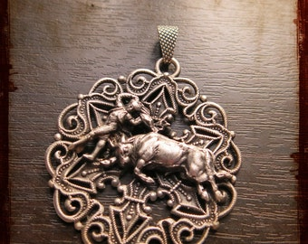 Antique French Silver Corrida medal - Vintage large medal with a bull and torero from South of France