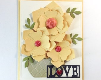 Love Floral Handmade card - floral, ivory, paper punch flowers, love card, red glitter heart