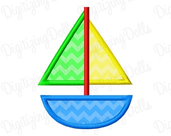 Sailboat Applique 2 Machine Embroidery Design 4x4 5x7 INSTANT DOWNLOAD