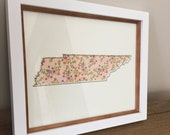 Tennessee Art Print - 8 x 10 - Peach Floral and Gold