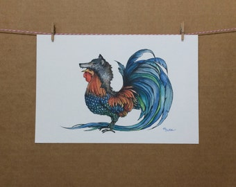 Watercolor/Ink-Animal-Rooster In Wolfs Clothing