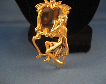 Lady and Mirror Brooch
