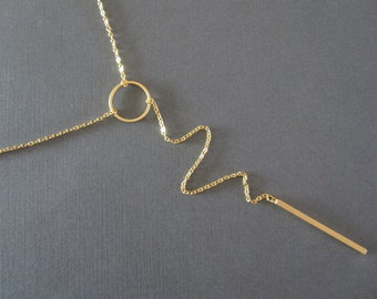 Circle and Bar Gold Lariat Necklace