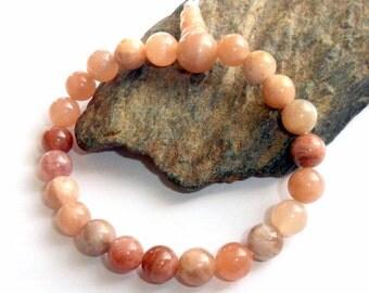 Peach Moonstone Wrist Mala Bracelet earthegy