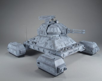 """Fantasy """"Hover Tank"""" model with lighted base"""