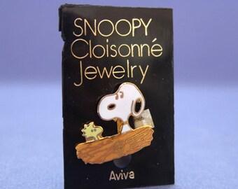 Aviva 1970's snoopy Cloisonne Pin on cards