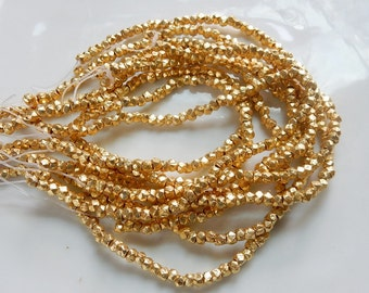 3.5 mm   Gold plated, faceted brass nugget beads, gold brass nugget beads, brass spacer, gold spacer