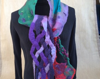 Nuno felt wearable art scarf with eclectic design elements