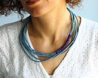 Layered fabric necklace,  blue fabric necklace, silver blue cord, simple necklace, silk necklace, rope necklace, fabric jewelry