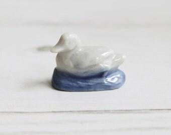 Wade Whimsies - Swimming Duck White Blue Wildlife Animals - Miniature Figurine