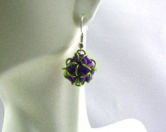 Dodecahedron Ball Chainmaille Earrings - Choose Your Color