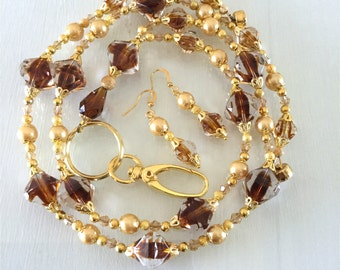 Clear and Brown Glass Bead,  Gold Glass Pearl Lanyard
