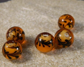 Amber and Brown 12mm Lampwork Beads