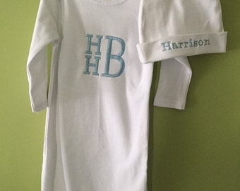 Monogrammed Baby Boy Gown and hat
