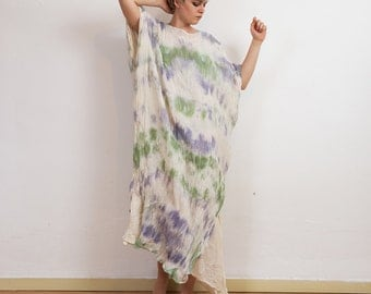 Cotton caftan, maxi loose dress, caftan abaya dress, oversize dress, tie dye summer gown, unique pice loose dress., summer discount