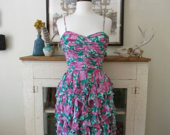 Rose wiggle dress, body con, ruched chiffon, floral print, XS, S