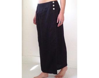 Black linen wrap maxi skirt. Size L