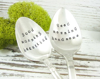 Stamped Vintage Teaspoons. Good Morning Beautiful. Good Morning Handsome. His and Hers Coffee Spoons. Couples Gift. Valentine's Day. 520SP