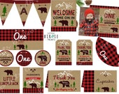 LUMBERJACK BIRTHDAY INVITATION - Lumberjack first birthday party invitation and printables Lumberjack Banner Favor Tags Cupcake toppers more