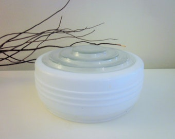 Vintage Glass Shade or Globe, Round Frosted and Clear Glass, Mid Century, Retro