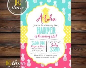 Pineapple Birthday Party Invitation - Girl's Luau Birthday Invitations - Pink, Aqua, Yellow