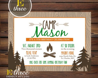 Camping Birthday Party Invitation - Woodland Boy's Camping Invite - Green, Orange, Brown - Forest, Campfire, Wood Grain
