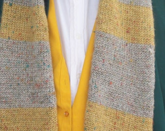 Fantastic Beasts Inspired Newt Scamander Hand Knitted Gray and Gold Scarf