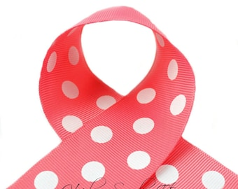 Coral Rose Polka Dots 7/8 inch Polka Dot Grosgrain Ribbon - Polka Dot Ribbon, Polka Dot Hair Bow, Polka Dot Bow, Ribbon By The Yard