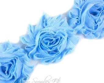 Light Blue Shabby Trim 2-1/2 inches - Light Blue Shabby Flowers, Light Blue Flower Headband, Light Blue Fabric Flower, Light Blue Flowers