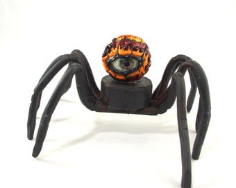 Walking Eyeball Spider #21 - hand forged with hard glass eyeball marble
