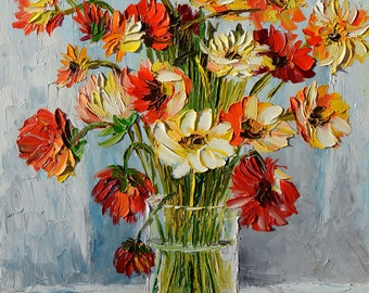 Original Oil Painting Palette Knife Flowers Arrangement Wild impasto painting colorful painting palette knife orange colors gift Marchella