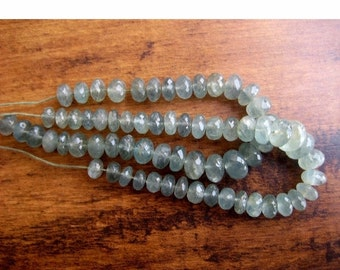 50% VALENTINE SALE Moss Aquamarine Beads/ Faceted Rondelle Beads/ Faceted Aquamarine Rondelles, 7mm To 10mm Beads, 8 Inch Strand, 33 Pieces
