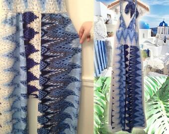 Amazing 90s Boho Hippie Blue White Zigzag Print Halter Wideleg Jumpsuit size Medium