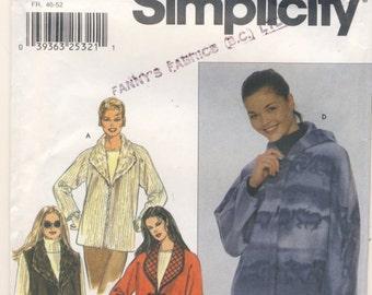 Simplicity 9939 Misses Jacket or Vest Plus Sizes Large and Extra Large