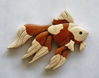 Goldfish (Multi-colored) Intarsia Wall Hanging Wood Carving Wooden Fish Decor Aquarium