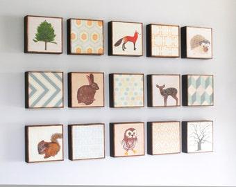 woodland nursery Art, midcentury nursery decor, animal prints,  Choose (15) FIFTEEN of our Custom Designs 5x5 ,Nursery Art, redtilestudio