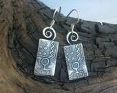 Primitive Earth Woman - PMC Earrings - Fine Silver Primitive Dangles
