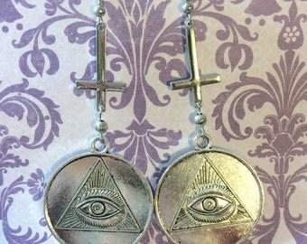 All Seeing Eye Illuminati Craft Cross Earrings