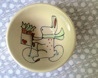 Bunny on Bike Illustration Cute Snack Bowl Small Bowl Children's Gift Rabbit Ceramics Cute Kids Pottery Present Handmade Bowl Carrots Heart