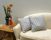 Grey Moroccan pillows - set of two - dollhouse miniature