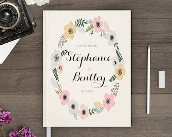 Boho wedding guest book, Reception sign in book for wedding, Personalized guestbook gb0031