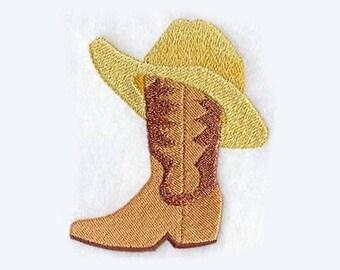 Boot & Hat Tea Towel | Kitchen Towel | Embroidered Towel | Embroidered Tea Towel | Hand Towel | Embroidered Kitchen Towel |