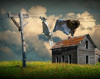 Photograph, Laundry, Wash on the Line, Abandoned House, Clothesline, Prairie, Rural, Country, Landscape Photograph, Wall Decor Print