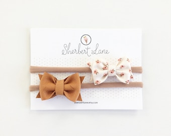 Baby Bow Set - Mini Standard Bows - Rosebud Bow and Butterscotch Leather Bow